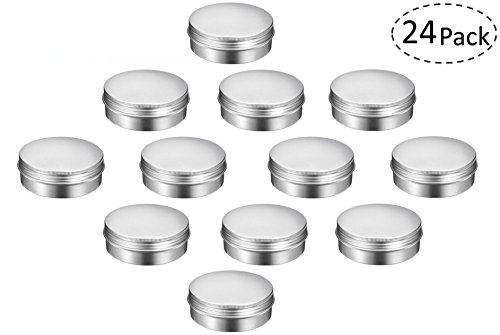 TMO Aluminum Round Tins 4 oz. 120ml Screw Top Tins Cans 4oz Metal Tins with Lids Travel Tins Storage Jars Food Tins Storage Containers,Silver(Pack of 24) - Foam Round Food Container