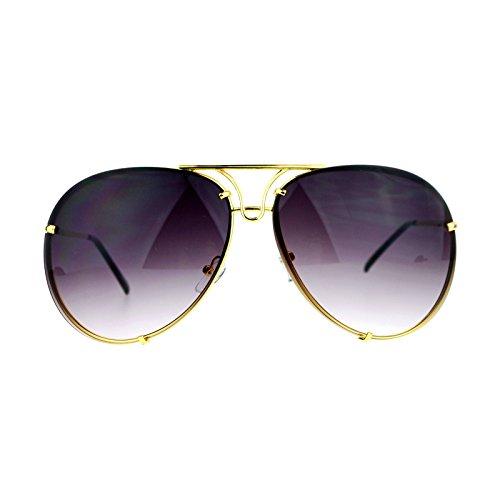 Oversized Round Aviator Sunglasses Metal Rims Behind Lens Gold, - Juicy Aviator Sunglasses