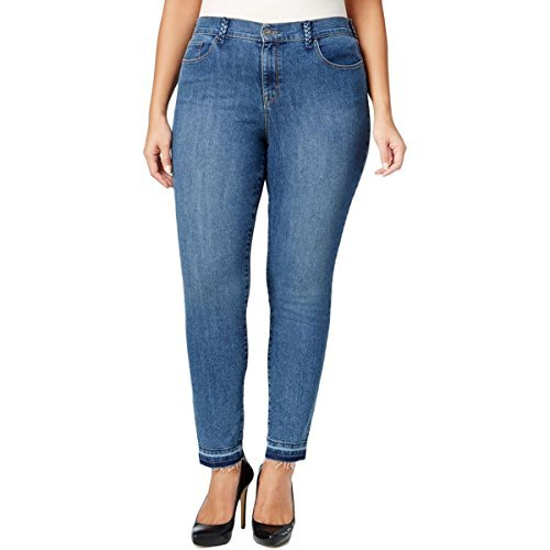 Style & Co. Womens Plus Braided Mid-Rise Jeans Blue 20W