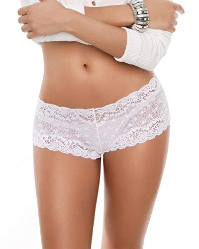 Hiphugger Style Panty in Modern Lace White (Womens Hip Hugger Panties)
