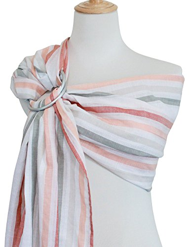 Vlokup Baby Ring Sling Baby Wrap Carrier - Extra Soft Linen and Cotton Baby Sling for Newborn, Infant, Toddlers, and Kids - Lightweight Breathable - Best Shower Gift for Boys or Girls, Orange Rainbow ()