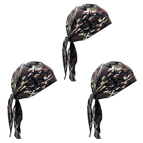 - Elephant Brand Doo Rag 100% Cotton - Skull Cap Beanie for Cycling - Head Wrap Pack of 3 (Camouflage)