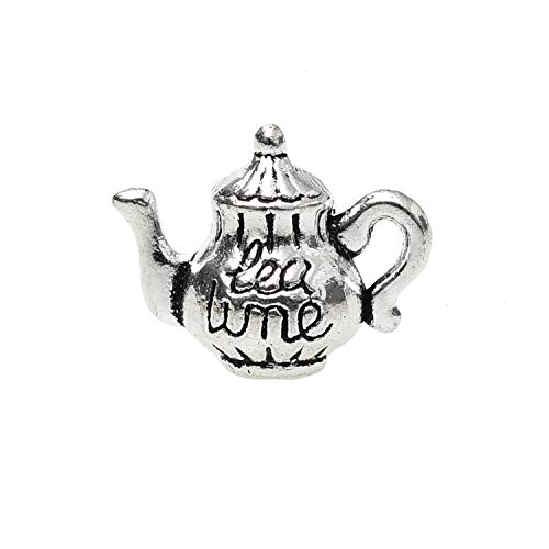 (Monrocco 40 Pieces Silver Teapot Teapot Tea Kettle Pot Charms Pendants for Jewelry Making Crafting Necklace Earrings)