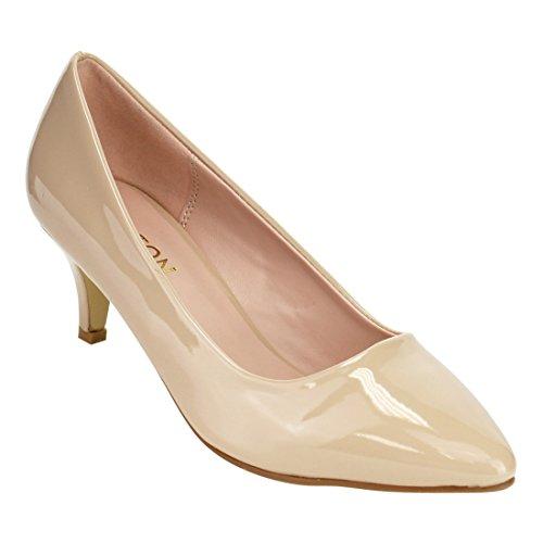 BESTON DE24 Women's Slip On Wrapped Kitten Heel Dress Pumps, Color Nude Patent, Size:9