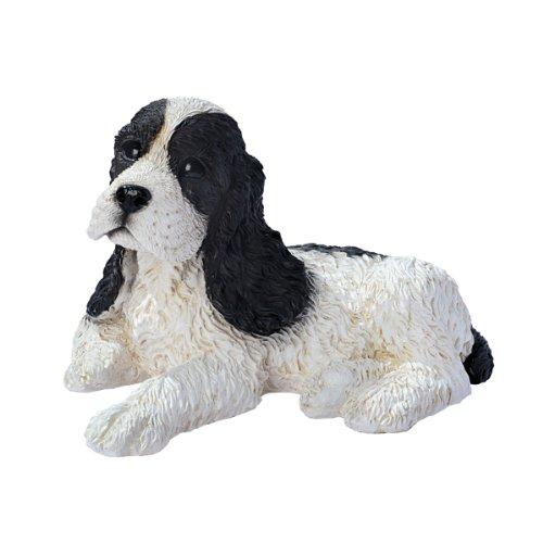 Design Toscano Black and White Cocker Spaniel Puppy Dog Statue