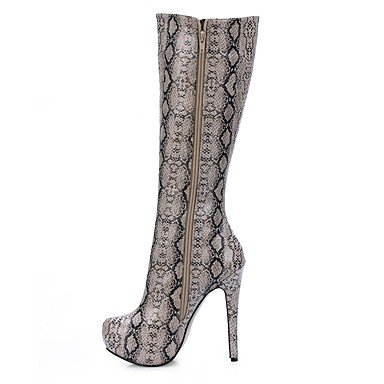Heart&M Mujer Botas Botas de Moda Invierno PU Vestido Fiesta y Noche Gris 12 cms y Más gray