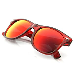 zeroUV - Classic Retro Fashion Translucent See-Through Colorful Horn Rimmed Sunglasses (Red Fire)