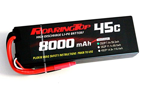 RoaringTop LiPo Battery Pack 45C 8000mAh 2S2P 7.4V HardCase with Leads Out for RC Car Boat Truck Airplane