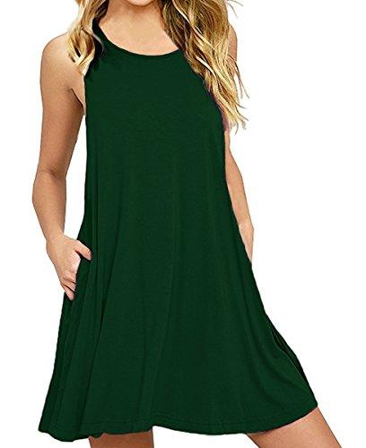 Mini Sleeveless Bra - lymanchi Women Swing Dress with Pockets Loose Casual Sleeveless Tunic Mini Dress Dark Green M