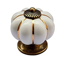 Handle Pull Pumpkin Knobs for Drawers and Cabinets Hardware Set 1 piece White