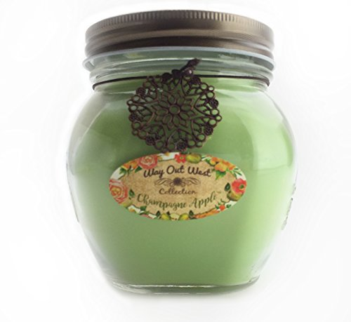 Large Apple Green (Scented Jar Candle Champagne Apple - 17 Oz Long Lasting Soy Blend - Made in USA by Way Out West - Perfect Gift for Mom)