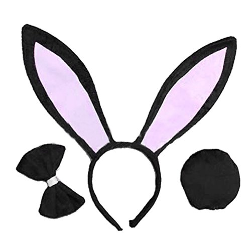SQ Woman Girls Rabbit Bunny Ears Headband Tail Bow Tie for Cosplay (Holloween Custumes)