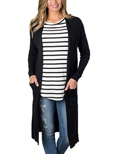 Long Black Cardigan Sweater - 9