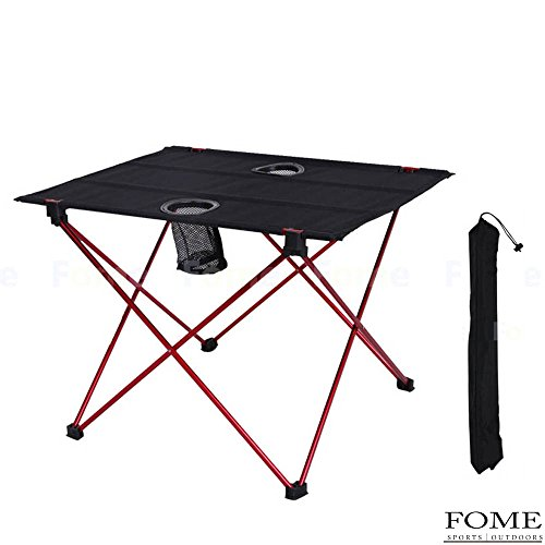 Folding Camping Tables, iDeep Portable Lightweight Aluminum Folding Table Roll-up Table Camping Table With Cup Holders&Carry Bag for Picnic Camp Beach(56x42x40cm)
