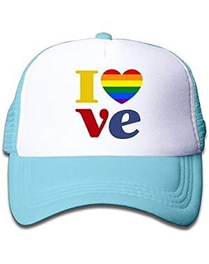 LGBT Gay Pride Love On Kids Trucker Hat, Youth Toddler Mesh Hats Baseball Cap