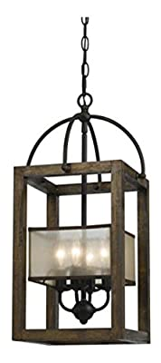 Dark Bronze / Stained Reddish Brown 4 Light Mission Wood / Metal Chandelier With Organza Shade
