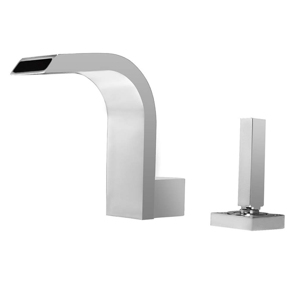 Chrome B Modern Waterfall Basin Sink Mixer Tap, Chrome Sink Hot and Cold Basin Tap Wash Basin Tap Faucet for Bathroom Kitchen and Hotel,White,C