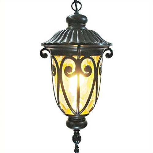 Bronze Old Hanging (Yosemite Home Decor 519MHIORB Viviana 1-Light Hanging Exterior Light with Gold Stone Glass)