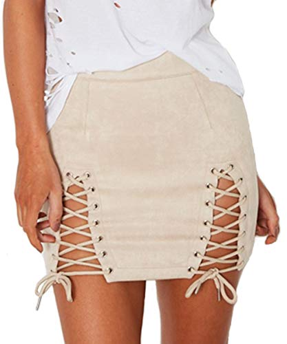 Aliwendy Women Sexy Criss Cross Tight Bodycon High Waist Faux Suede Stretch Mini Skirt(Beige Medium) ()