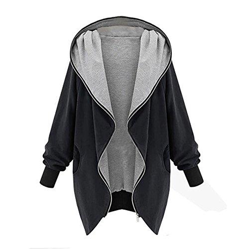 Cardigan Vjgoal mode Manteau Zipper Capuchon Hiver Coton Chaud À Femmes Noir Vert Manteau r64vwqr8