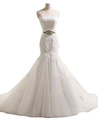NYARER Mermaid Lace Up Sash Cap Sleeve Wedding Dresses NY051