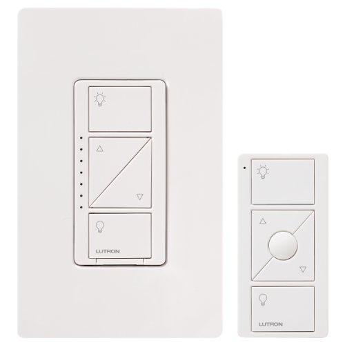 Lutron Caseta Wireless Smart Lighting Dimmer Switch and Remote Kit for Wall & Ceiling Lights, P-PKG1W-WH-C