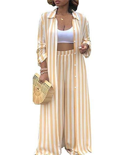 (Women Long Sleeve Stripe Print Collar Button Down Long Cardigan Top Pants Set 2 Piece Outfits Set)