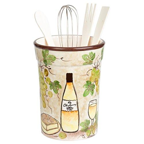 Lorren Home Trends W2064 White Grape Ceramic Utensil Holder,