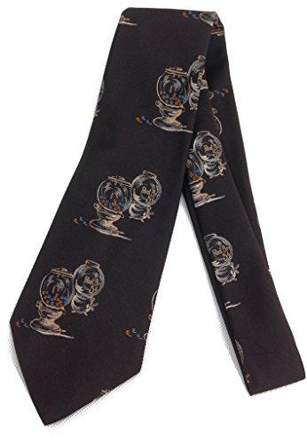 Root Beer Gumball Machine Tie - Vintage Jacquard Weave Wide Kipper Necktie - Brown - Root Beer Gumballs