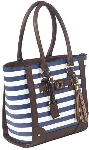 Bulldog Cases Tote Style Concealed Carry Purse with Holster, Navy Stripe
