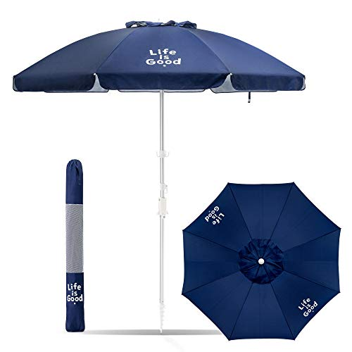 Life is Good Beach Umbrella with Sand Anchor, Towel Hook, Tilt and Telescoping Pole (Navy Solid)