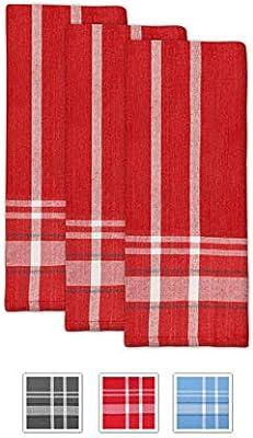 Toallas de té - Toallas de cocina de algodón - Paños de cocina de rayas rojas - Paños de