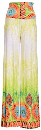 Chevron Aztec Tribal Pattern Printed Long Palazzo Pants (Large, ITY103-GREEN (Summer Grass))