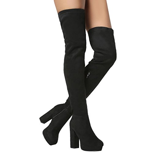 Nature Breeze Womens Round Toe Fitted Chunky Platform Heel Over The Knee Thigh High Boot 10 Black