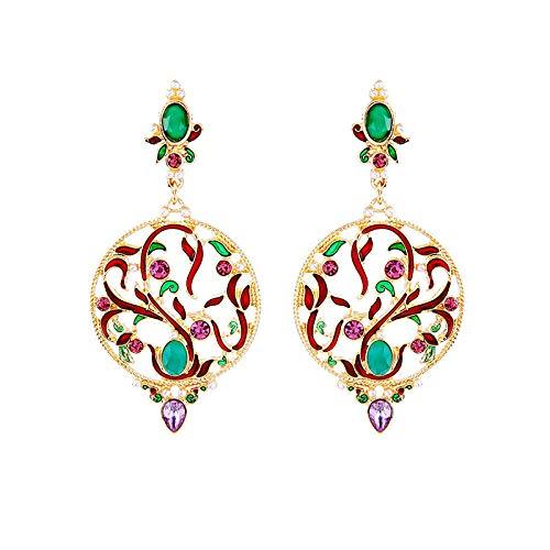 Peony.T Women's Crystal Enamel Glaze Filigree Chandelier Hollow Lace Pattern Dangle Earrings in Gold Tone