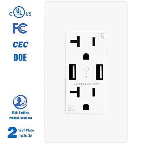 TOPELE High Speed USB Charger Outlet, USB Wall Charger Duplex Receptacle, 20A Tamper-Resistant Receptacle with 2 Free Wall Plates, Child Proof Safety for iPhone X 8/8 Plus, Samsung and more, White
