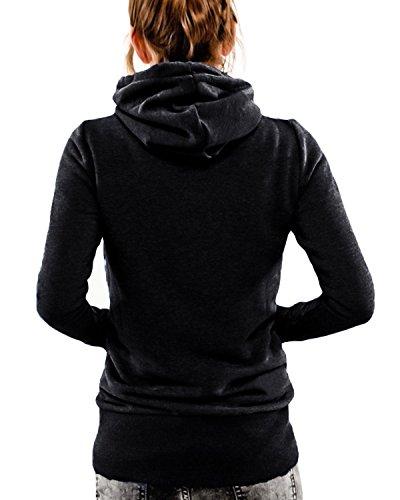 Landove Casual Pullover Manica Alto Nero Sportive Felpa Tumblr Lunga Ragazza Collo Top Donna con Elegante Inverno Maglie Sweatshirt Felpe Cappuccio Blusa Autunno 6rqv6w
