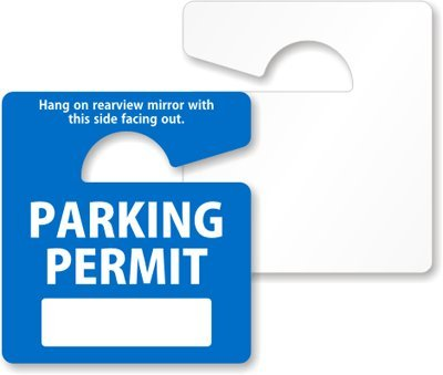 - SmartSign Write-On Parking Permit Rearview Mirror Hang Tag | 2.75