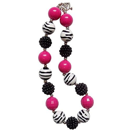 [So Sydney Baby Toddler Girls Princess Chunky Bubblegum Beads Beaded Necklace (Hot Pink Zebra] (Little Zebra Girls Costumes)