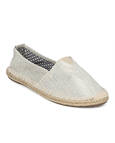 Alrisco Women Round Toe Espadrille Flat - Espadrille Beach Shoe - Casual Lounging Stylish Summer Walking Shoe - HD73 by Wild Diva Collection Beige / Silver Canvas