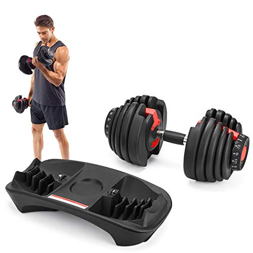 Popsport 52.5LBS Adjustable Dumbbell 1 PCS Fitness Dumbbell Standard Adjustable Dumbbell with Handle and Weight Plate for Home Gym System- Building Muscle