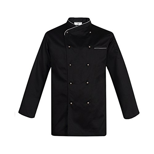 Black long sleeve chef coats with removable stud buttons piping catering uniforms
