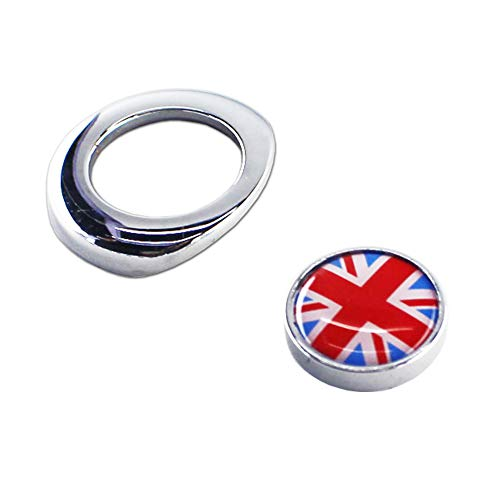 (Miniclue Classic Red/Blue Union Jack UK Flag Design Engine Start Push Button Ignition Starter Pushbutton Dash Cover Caps for 2nd Gen Mini Cooper)