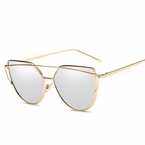 Sol Azul enmarcado Gafas Marco de sol de Oro de mercurio Colores Gafas Chip Plata Gafas Cat blanco Eye de Sol de Gafas de con de Sol Metal Liuxc H41wqZ4d