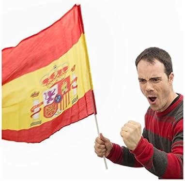 Bandera de España con Palo 60 x 90 cm: Amazon.es: Deportes y aire ...