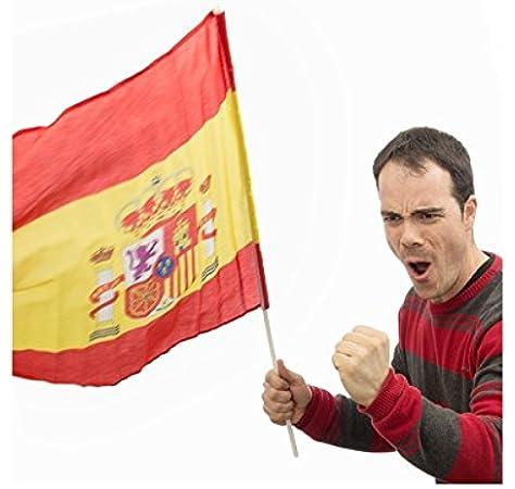 Bandera de España con Palo 60 x 90 cm: Amazon.es: Deportes y aire libre