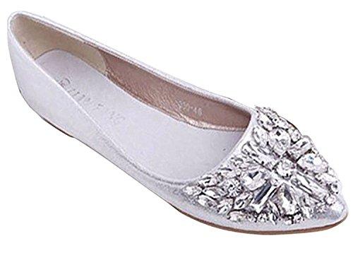 Minetom Mujer Chicas Moda Zapatos Apuntado Zapatos Plano El Bling Crystal Ballet Princesa Zapatos Plateado