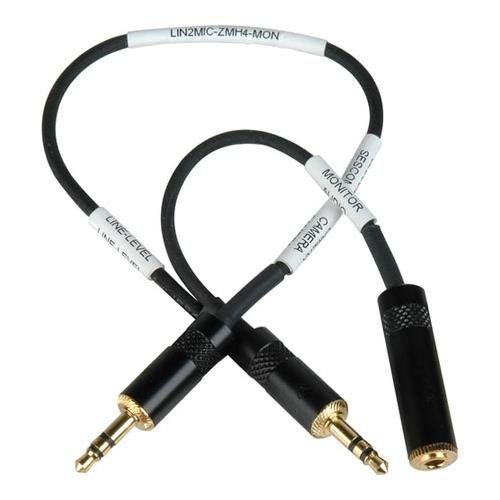 Sescom LN2MIC-ZMH4-MON 3.5mm Line to Mic 25dB Attenuation Cable for Zoom H4N with Headphone Monitoring Jack
