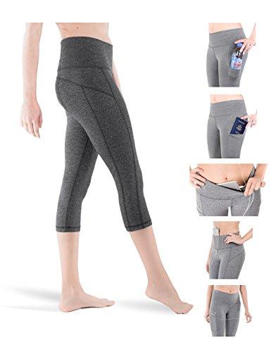 Sparkle 3-Pocket Capri Leggings Yoga Active Workout Pants Hight Waist Tummy Control Unique Design (S2c) (Small, - Bras Soft Diamond