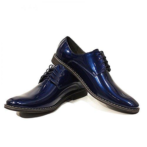 Modello Crepuscolo - Handmade Italiano Da Uomo In Pelle Blu navy Scarpe da sera - Vacchetta Pelle di brevetto - Allacciare